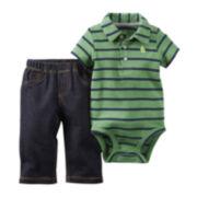 Carter's® Short-Sleeve Striped Polo Bodysuit and Pants Set - Baby Boys newborn-24m