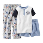 Carter's® Short-Sleeve 3-pc. Baseball Pajama Set - Toddler Boys 2t-5t