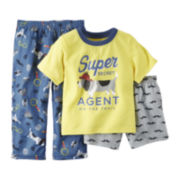 Carter's® Short-Sleeve 3-pc. Dog Graphics Pajama Set - Toddler Boys 2t-5t