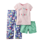 Carter's® Short-Sleeve 3-pc. Cupcake Pajama Set - Toddler Girls 2t-5t