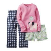 Carter's® Long-Sleeve 3-pc. Elephant Pajama Set - Toddler Girls 2t-5t