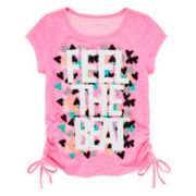 Okie Dokie® Side-Tie Ruched Graphic Tee - Preschool Girls 4-6x