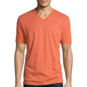 Claiborne® Short-Sleeve Pinstriped V-Neck Tee