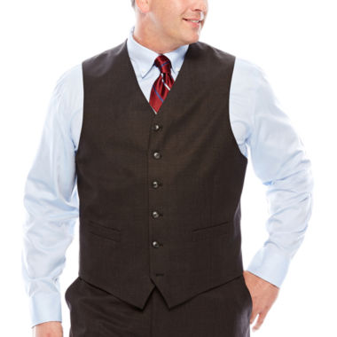 jcpenney.com | Stafford® Travel Charcoal Suit Vest - Big & Tall
