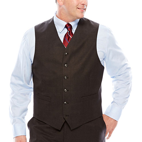Stafford® Travel Charcoal Suit Vest - Big & Tall
