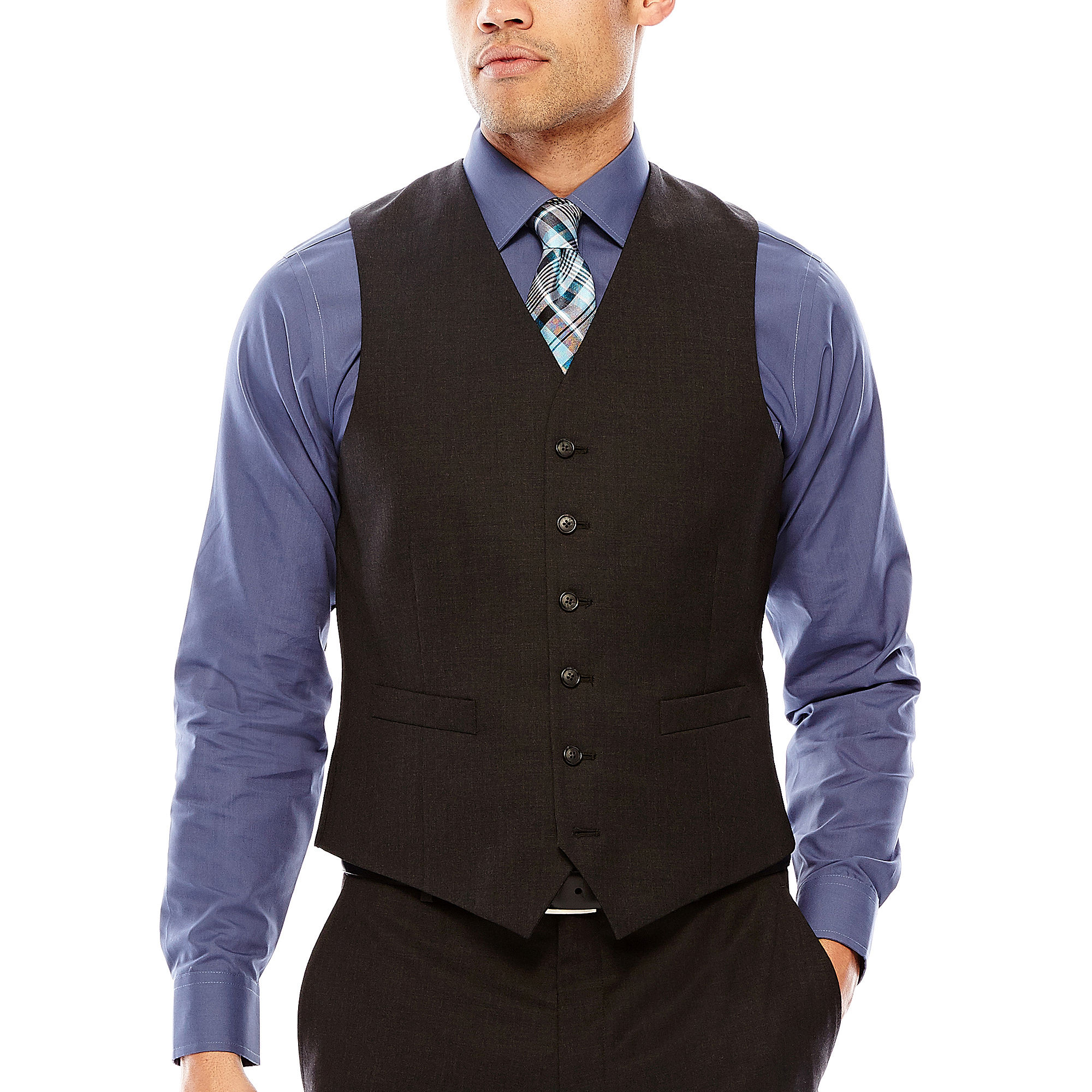 Stafford Travel Charcoal Suit Vest