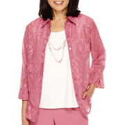 Alfred Dunner® Baton Rouge 3/4-Sleeve Layered Necklace Shirt