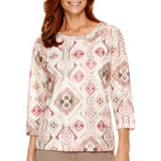 Alfred Dunner® Baton Rouge 3/4-Sleeve Print Top