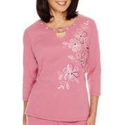 Alfred Dunner® Baton Rouge 3/4-Sleeve Embroidered Top