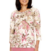 Alfred Dunner® Baton Rouge 3/4 Sleeve Novelty Neck Top