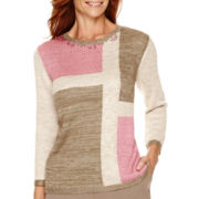 Alfred Dunner® Baton Rouge 3/4-Sleeve Colorblock Sweater