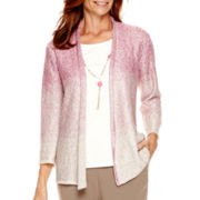 Alfred Dunner® 3/4-Sleeve Baton Rouge Necklace Sweater