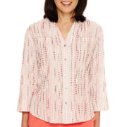 Alfred Dunner® Coral Dreams 3/4-Sleeve Striped Shirt
