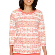 Alfred Dunner® Coral Dreams 3/4 Sleeve Novelty Neck Top