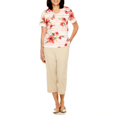 jcpenney.com | Alfred Dunner® Coral Dreams Short-Sleeve Print Top or Capris