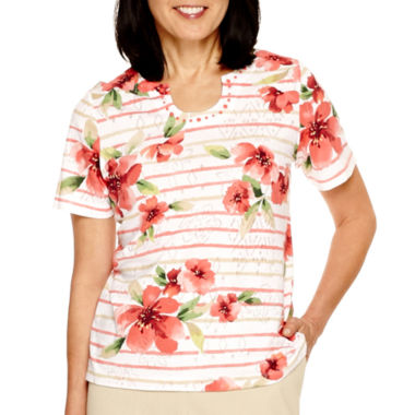 jcpenney.com | Alfred Dunner® Coral Dreams Short Sleeve Print Top