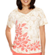 Alfred Dunner® Coral Dreams Short-Sleeve Novelty Neck Top