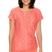 Alfred Dunner® Coral Dreams Cap-Sleeve Lace T-Shirt