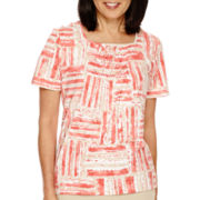Alfred Dunner® Short-Sleeve Geometric-Print Quilted-Detail Top