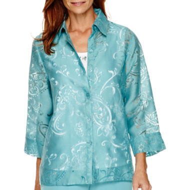 jcpenney.com | Alfred Dunner® Crystal Springs 3/4-Sleeve Layered Shirt