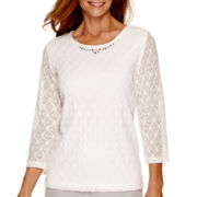 Alfred Dunner® Crystal Springs 3/4-Sleeve Lace Top
