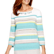 Alfred Dunner® Crystal Springs 3/4-Sleeve Stripe Sweater