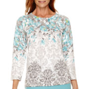 Alfred Dunner® Crystal Springs 3/4-Sleeve Floral Print Sweater