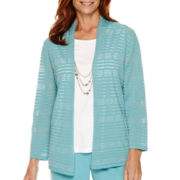 Alfred Dunner® Crystal Springs 3/4-Sleeve Layered Sweater