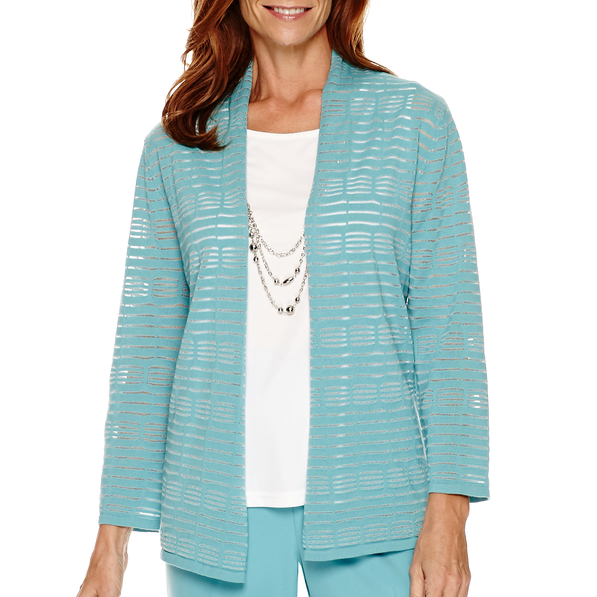 Alfred Dunner Crystal Springs 3/4-Sleeve Layered Sweater plus size,  plus size fashion plus size appare