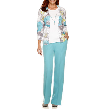 jcpenney.com | Alfred Dunner® Crystal Springs 3/4-Sleeve Print Layered Sweater or Pants