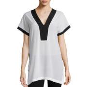 Bisou Bisou® Short-Sleeve V-Neck Side Slit Tunic