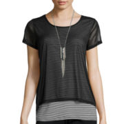 Alyx® Short-Sleeve Mesh Overlay Necklace Top