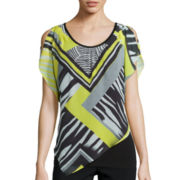 Alyx® Short-Sleeve Popover Printed Top