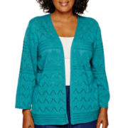 Alfred Dunner® 3/4-Sleeve Pointelle Cardigan - Plus