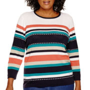 Alfred Dunner® 3/4-Sleeve Classic Striped Sweater - Plus