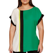 Worthington® Short-Sleeve High Low Colorblock Blouse - Plus