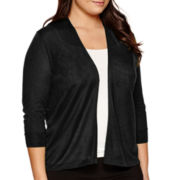 Worthington® Essential 3/4-Sleeve Open Cardigan - Plus