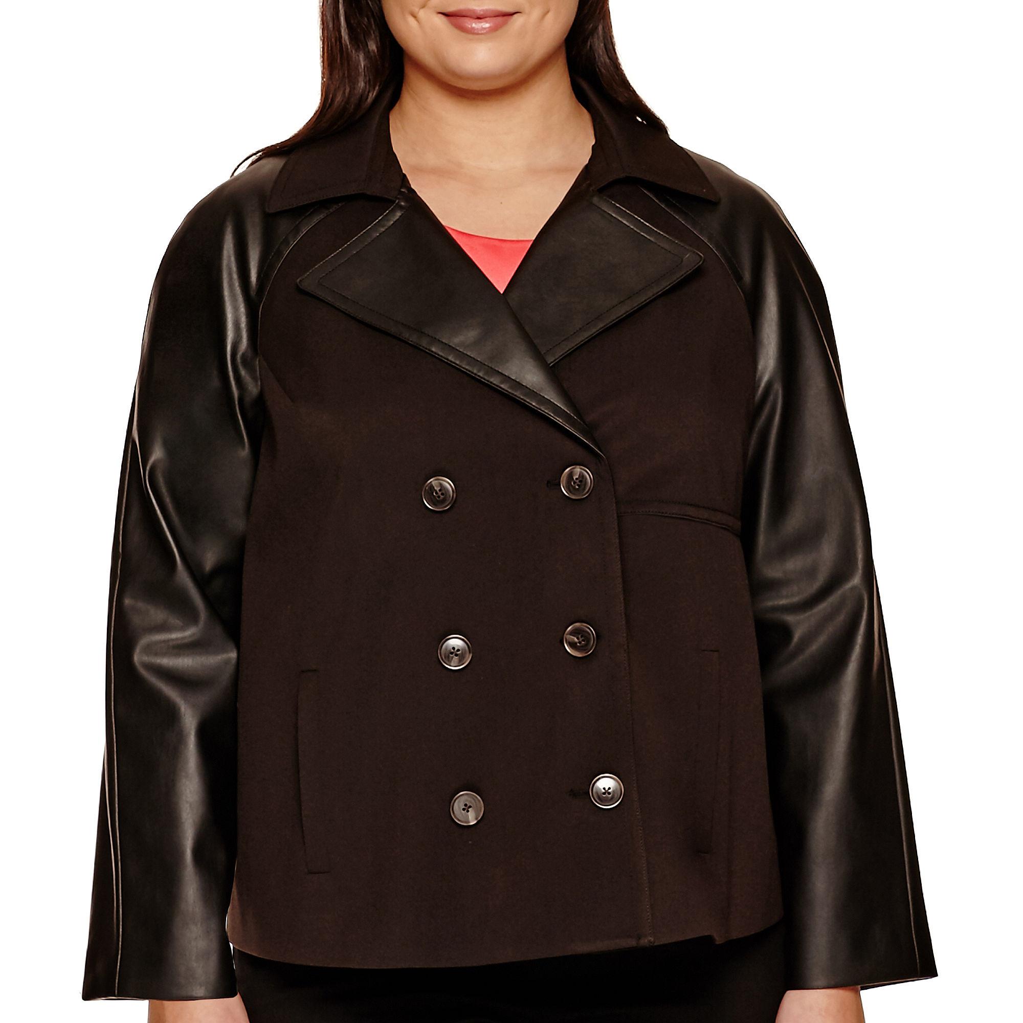 Worthington Long-Sleeve Cropped Trench Jacket - Plus