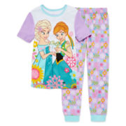Disney Collection Frozen 2-Pc. Short-Sleeve Cotton Pajama Set