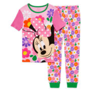 Disney Minnie Mouse 2-Pc. Short-Sleeve Cotton Pajama Set