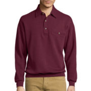 Palmland® Long-Sleeve Textured Banded-Bottom Polo