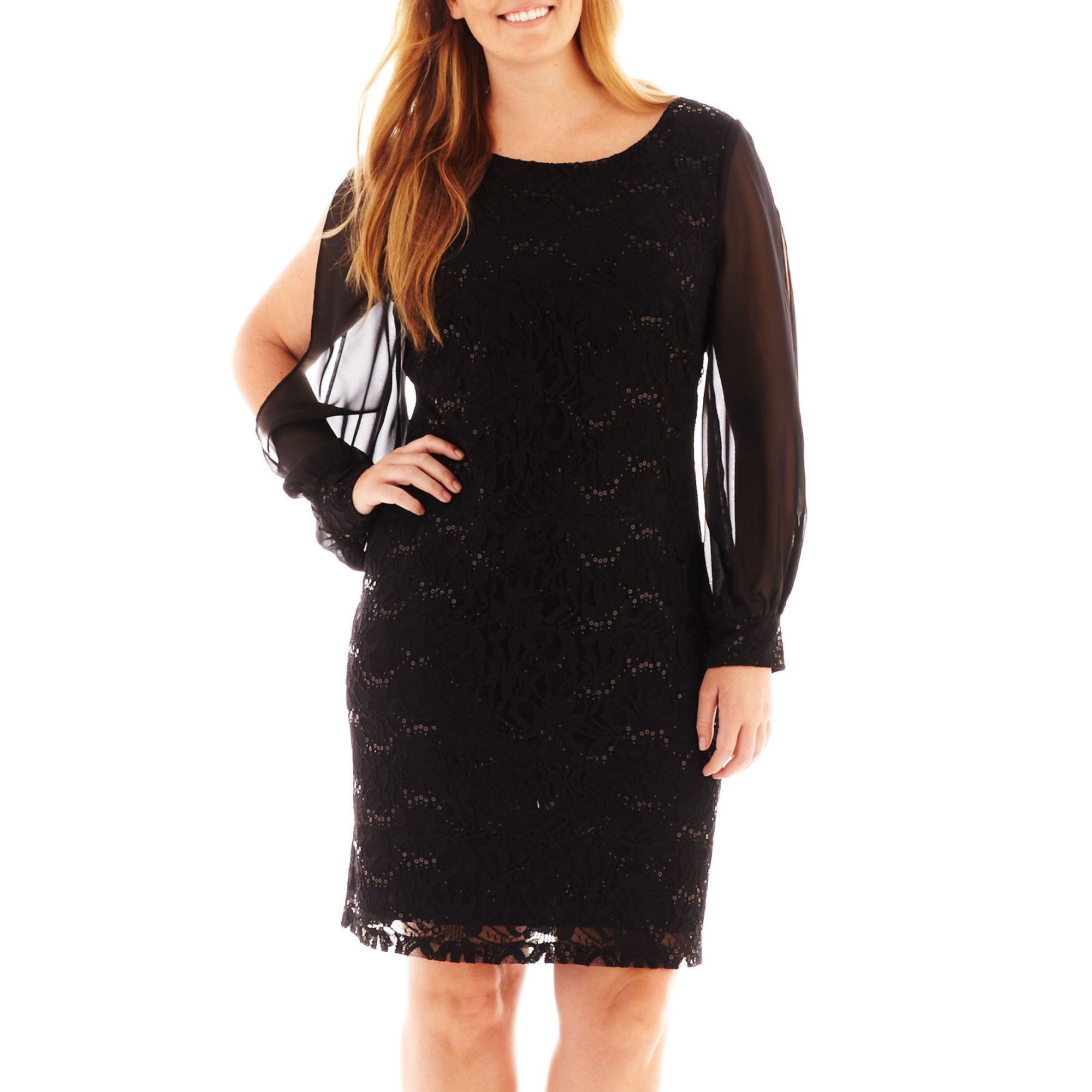 Scarlett Long-Sleeve Lace and Chiffon Dress - Plus