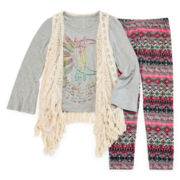 Knit Works Tee, Fringe Vest and Leggings - Girls 7-16 and Plus