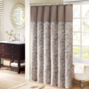 Madison Park Aubrey Shower Curtain Pieced with Faux Dupioni