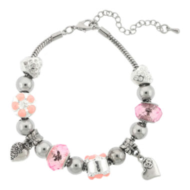 jcpenney.com | Dazzling Designs™ Silver-Plated Pink Artisan Glass Bead Bracelet