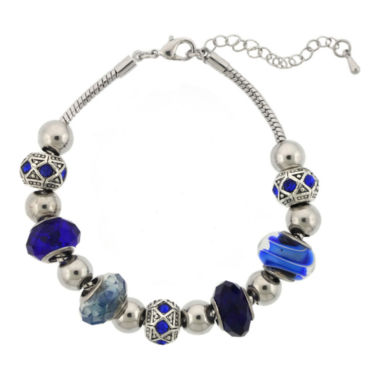 jcpenney.com | Silver-Plated Blue Artisan Glass Bead Bracelet