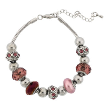 jcpenney.com | Dazzling Designs™ Silver-Plated Purple Artisan Glass Bead Bracelet