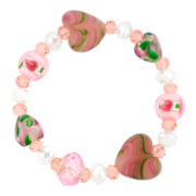 Silver-Plated Pink Artisan Glass Heart Bead Bracelet