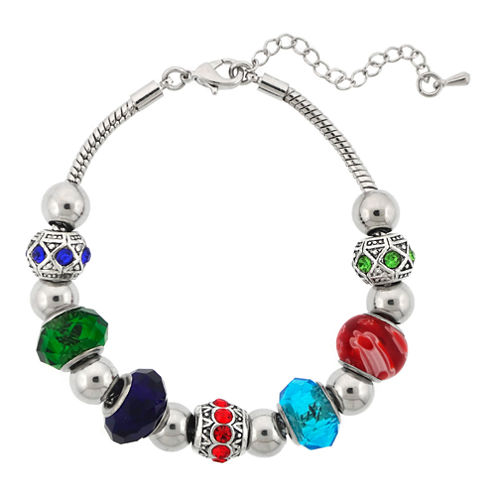 Dazzling Designs™ Silver-Plated Multicolor Glass Bead Bracelet