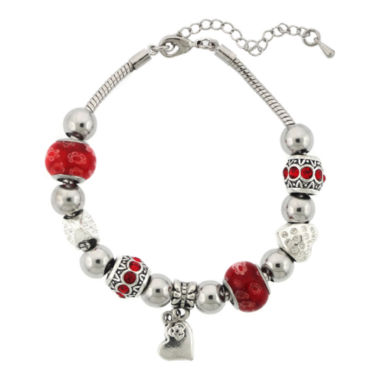 jcpenney.com | Dazzling Designs™ Silver-Plated Red Glass Bead Heart Charm Bracelet